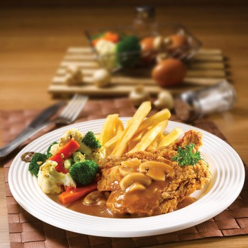 Chicken Chop with Mushroom or Black Pepper Sauce(Rp58)