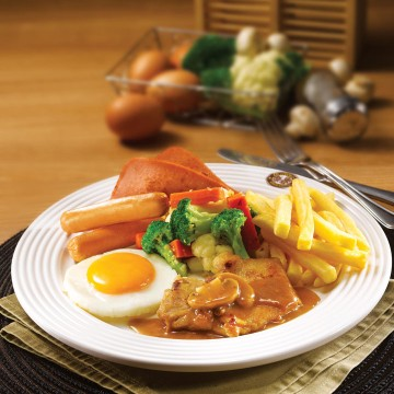 Mixed Grill with Mushroom or Black Pepper Sauce(Rp58)
